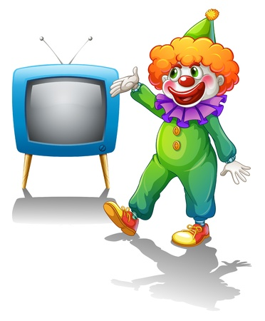 Illustration of a clown standing in front of a television  on a white background Stock Vector - 19717645
