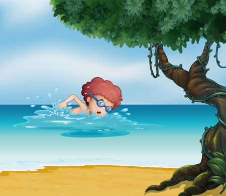 Illustration of a young man swimming at the beach with an old tree Vector