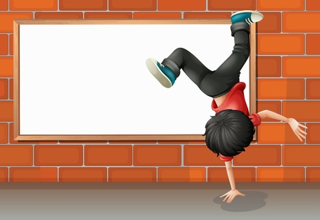 Illustration of a boy breakdancing in front of the empty board Vector