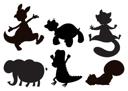 Illustration of the animals in brown, black and gray colors on a white background Vector