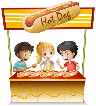 Illustration of the three kids in a hotdog stand on a white background Stock Vector - 19718690