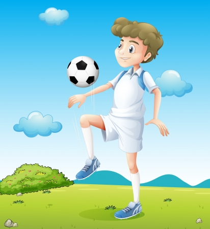 footwork: Illustration of a boy playing soccer during daytime Illustration