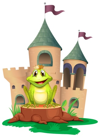 green tree frog: Illustration of a frog sitting at the wood with a castle at the back on a white background