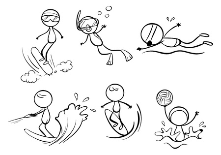 swimming silhouette: Illustration of the doodle designs of different outdoor activities on a white background