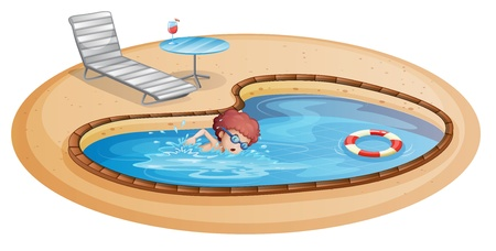 Illustration of a young gentleman practicing at the pool on a white background Vector