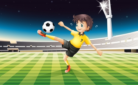 Illustration of a boy in his yellow uniform playing soccer at the field Stock Vector - 19717698