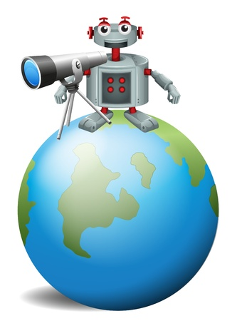 Illustration of a robot with a telescopeabove the planet earth on a white background  Stock Vector - 19717715