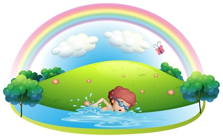 Illustration of a young man swimming near the hill with a rainbow on a white background Stock Vector - 19717720