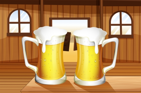swingdoor: Illustration of a table with two mugs of beer
