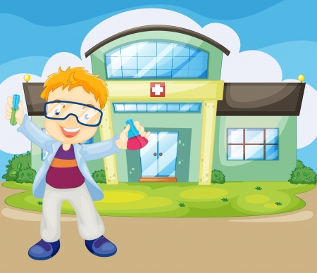 apparatus: Illustration of a scientist holding an apparatus outside the hospital
