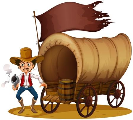 carreta madera: Ilustración de un carro con un anciano armado sobre un fondo blanco Vectores