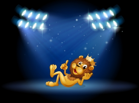stageplay: Illustration of a king lion at the center of the stage