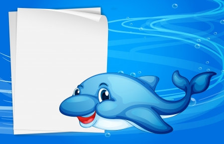 Illustration of a dolphin beside an empty paper under the sea Illustration