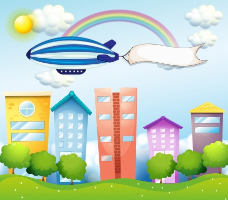 Illustration of an aircraft with an empty banner at the back Stock Vector - 19718701