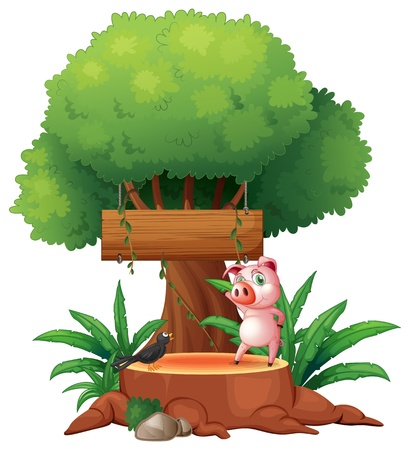 Illustration of a pig and a bird above a stump in front of a wooden signboard on a white background Stock Vector - 19718692
