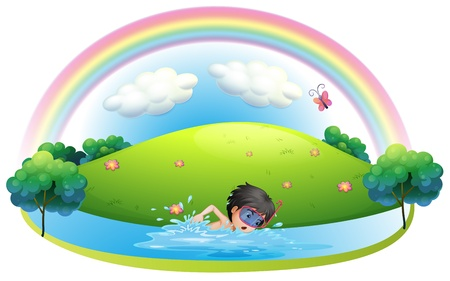 Illustration of a boy swimming at the beach near the hill on a white background Vector