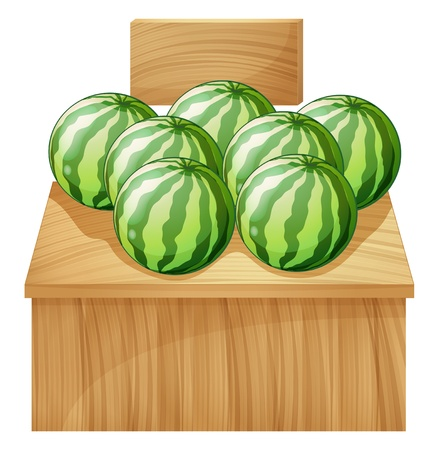 quadrilateral: Illustration of a watermelon stand with an empty wooden signboard on a white background