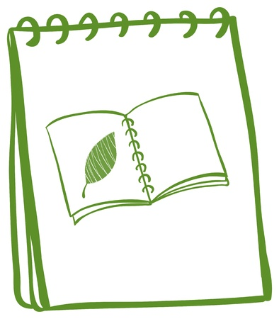 Illustration of a green doodle notebook on a white background Vector