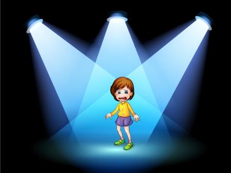niños actuando: Ilustración de una niña que actúa en el centro del escenario