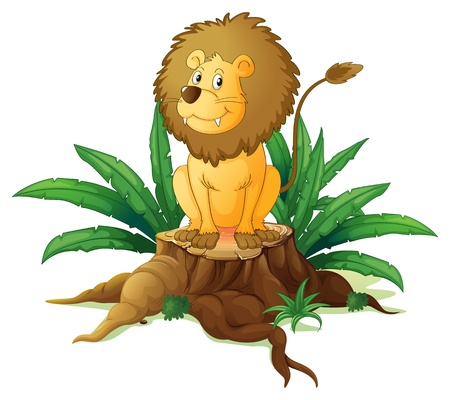 Illustration of a stump with a big scary lion on a white back ground  Vector