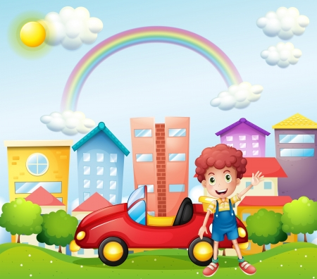 Illustration of a boy and his red car near the high buildings Illustration