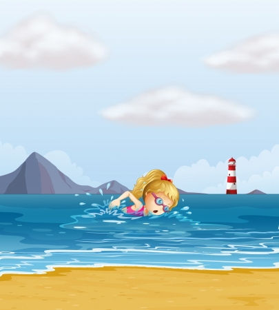 swim goggles: Illustration of a girl swimming at the sea with a beacon at the back