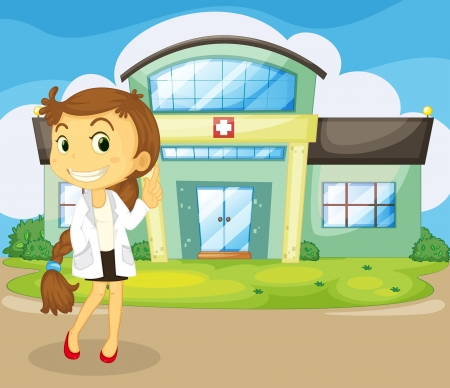 nursing uniforms: Illustration of a doctor in front of the hospital