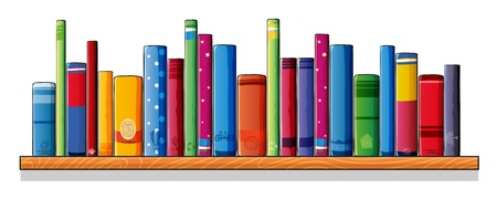 books on shelf: Illustration of a wooden shelf with books on a white background