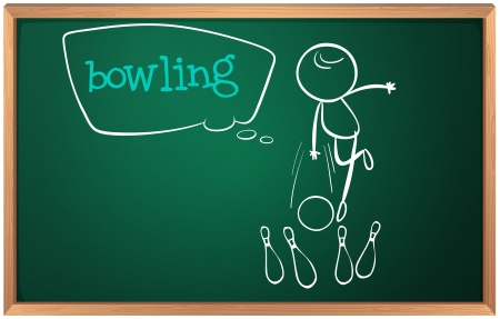 Illustration of a blackboard with a drawing of a kid playing bowling on a white background Vector