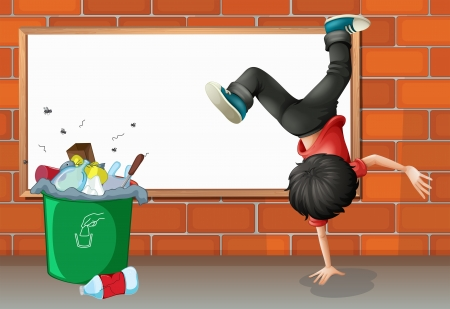 teen dance: Illustration of a boy breakdancing near a trash can with an empty board Illustration