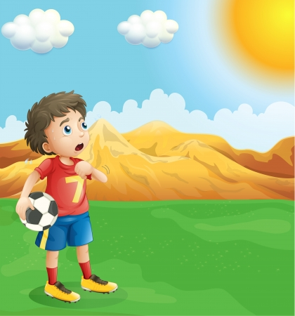 footwork: Illustration of a boy holding a soccer ball sweating