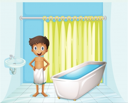 bathroom faucet: Illustration of a boy at the bathroom on a white background Illustration