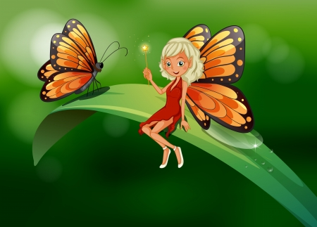 Illustration of a  fairy and a butterfly at the top of a long leaf Vector