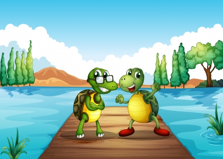 Illustration of the two turtles standing at the diving board Illustration