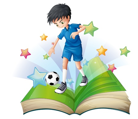 storyteller: Illustration of a book with an image of a soccer player on a white background Illustration