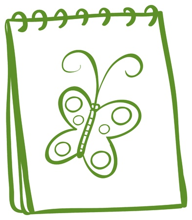 Illustration of a notebook with an image of a butterfly on a white background Stock Vector - 19872370