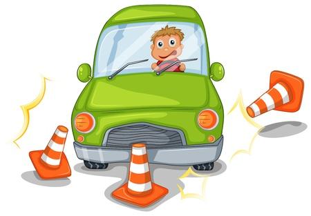 descuidado: Ilustra��o de um menino andando de um carro verde em um fundo branco