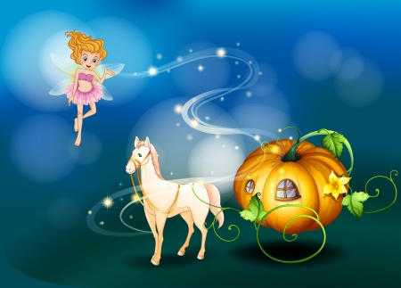 Illustration of a pumpkin, a horse and a fairy Stock Vector - 19873966