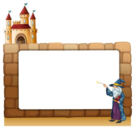 Illustration of a wizard in front of an empty white signage with a castle on a white background Vector
