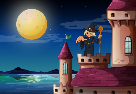 Illustration of a witch at the castle Vector