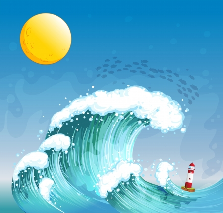 Illustration of a big wave with a tower Vector
