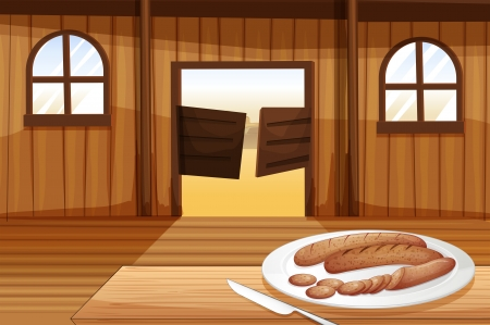 melaware: Illustration of a plate with hotdogs
