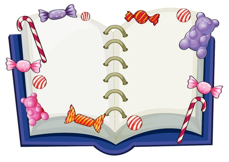 sheet menu: Illustration of a book surrounded with sweet candies on a white background Illustration
