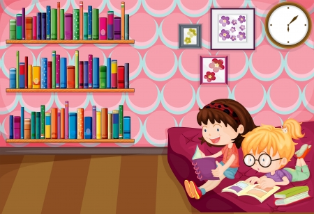 children story: Illustration of the two girls reading inside the house