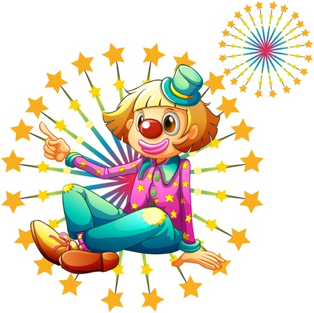 exploded: Illustration of a female clown with fireworks on a white background Illustration