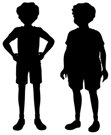 Illustration of the sillhoutes of two men on a white background Vector