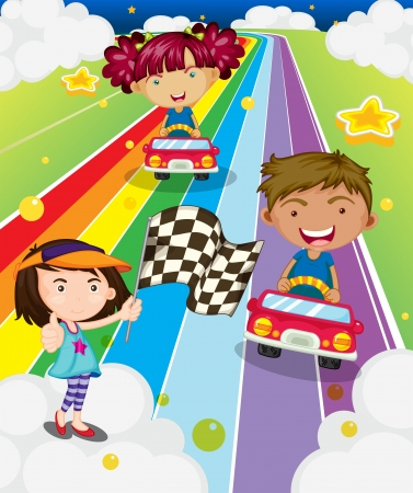 Illustration of the three kids playing car racing  Vector