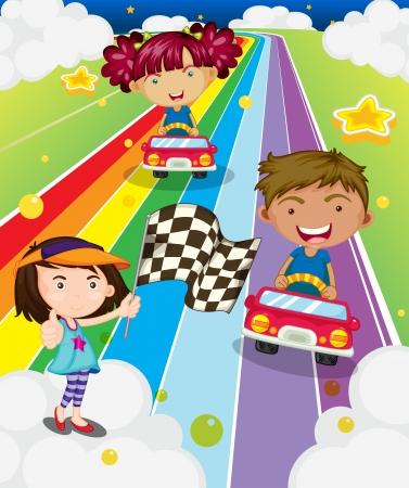 acabamento: Ilustra��o das tr�s crian�as brincando de corrida de carro