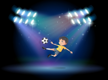 footwork: Illustration of a boy kicking the soccer ball at the stage Illustration