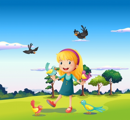 Illustration of a girl surrounded by birds at the hill